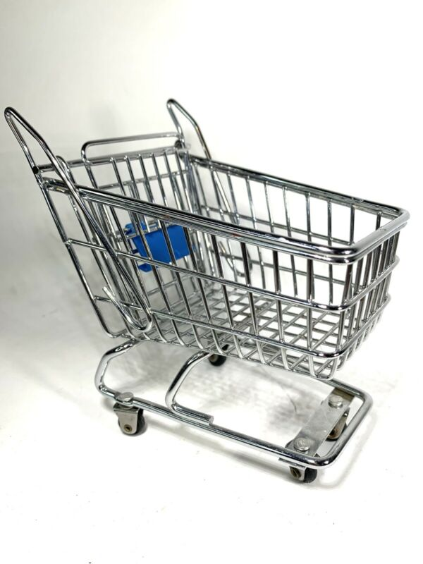 """Vintage MINI GROCERY SHOPPING CART BUGGY  Carriage TOY Steel Metal 6"""" Doll"""