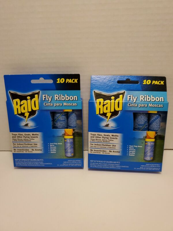 B2 - Fly Ribbon Sticky Tape by Raid TWO 10 Packs Flying Insects - 20 total traps