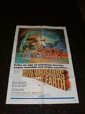"""WHEN DINOSAURS RULED THE EARTH Original 1970 Movie Poster, 27""""x41"""", C8 Very Fine"""