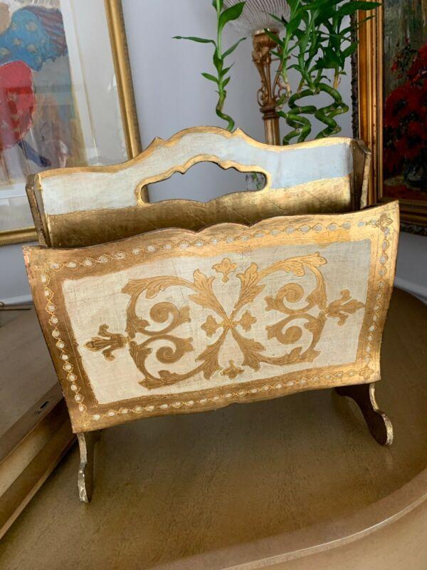 Vintage Gold Gilt & White Italian Florentine Magazine Stand Holder Rack