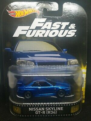 Hot Wheels Retro Entertainment Fast & Furious Nissan Skyline GT-R (R34) Blue