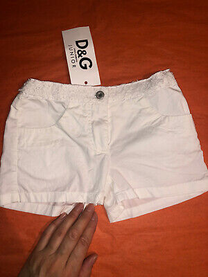 D&G DOLCE GABBANA JUNIOR KIDS GIRL WHITE SHORTS WITH LACE,LEATHER,METAL,SIZE 3