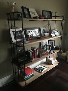 *Brand New* stunning barn wood and metal shelving unit