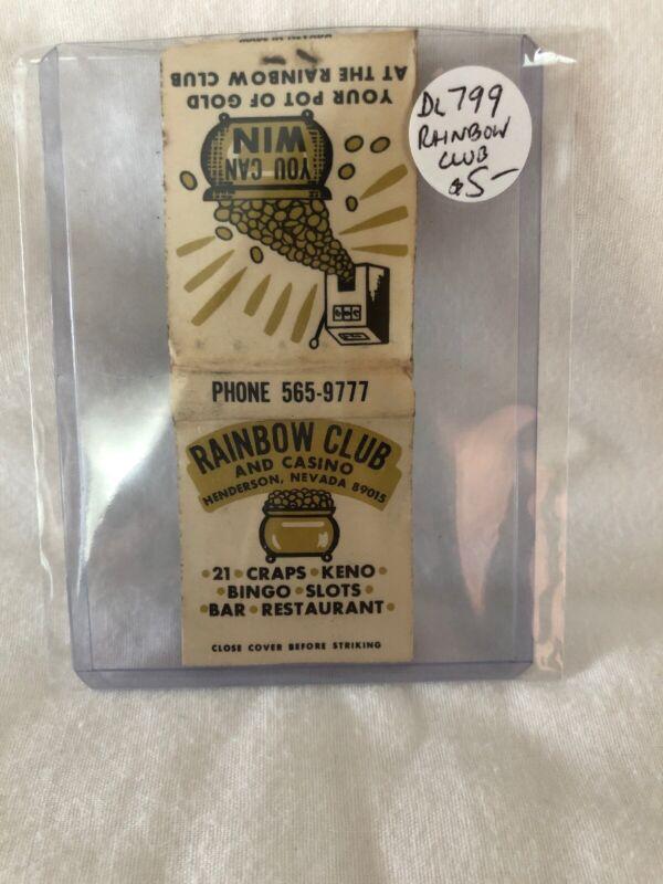 Vintage Las Vegas Rainbow Club And Casino Matchbook Unstruck
