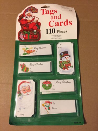 VINTAGE CHRISTMAS EUREKA TAGS & CARDS 110 PIECES