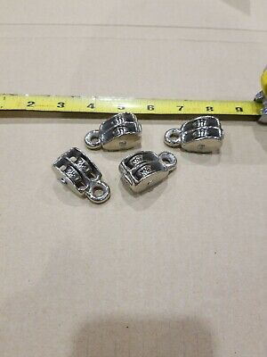 4pc 12 Double Wheel Sheave Die-cast Chrome Pulley Rope Wire Hoist.