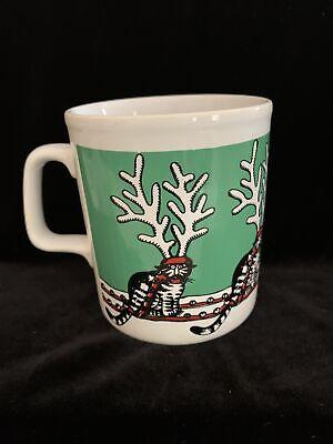 Vintage Kiln Kraft Cat Reindeers Holiday Mug Designed By Kliban