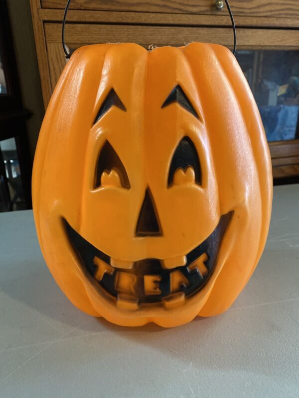 Vintage Halloween Blow Mold Trick or Treat Pail Bucket Decoration