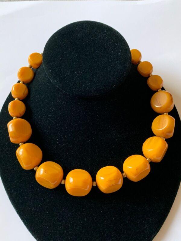 HUGE Vintage Art Deco Bakelite Beaded Necklace Butterscotch Amber Egg Yolk