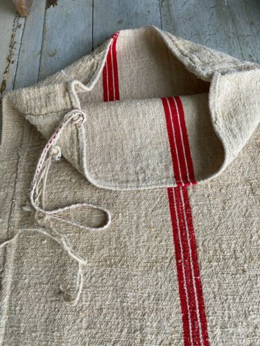 Christmas  fabric grainsack grain sack hand woven linen hemp  textile feed bag