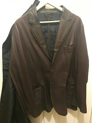 Giorgio Armani Mens Leather Jacket Snap Front Brown Black Label $5000 New