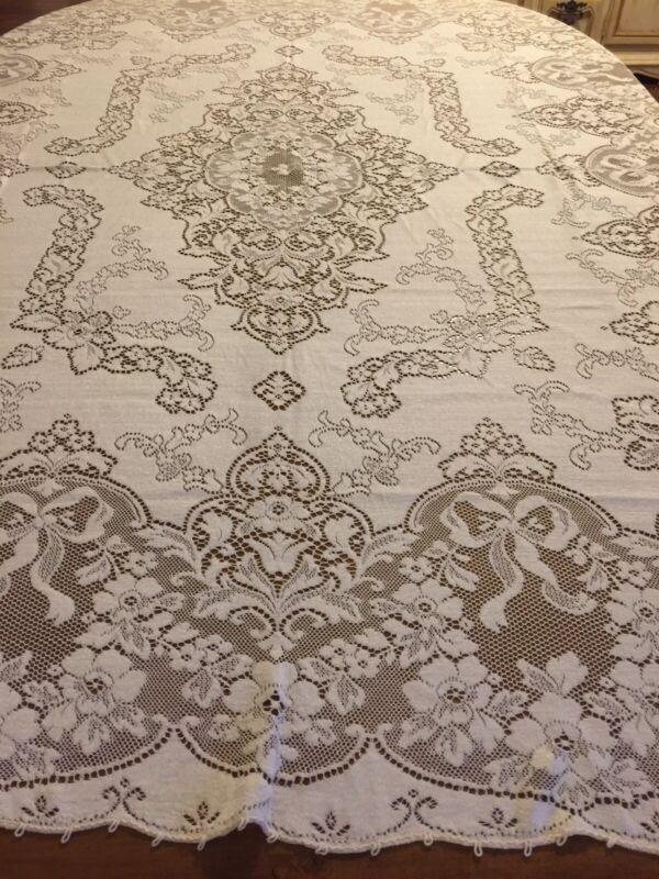 Antique French Dinner Linen Ivory Sheer Lace Original Handmade Tablecloth VTG