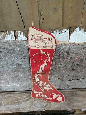 antique christmas stocking red felt 1930s santa reindeers mantle hanging vintage