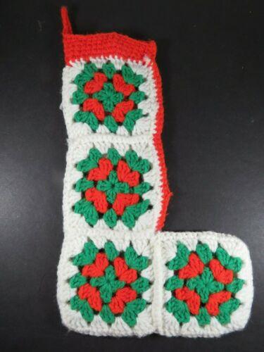 """Vtg Crochet Christmas Stocking Granny Square Red Green White Handmade 14""""  A8920"""