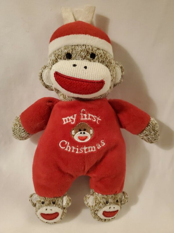 "Baby Starters Red Sock Monkey My First Christmas Plush 9"" Rattle Stuffed Animal"