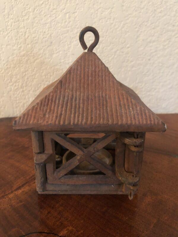 Vintage Cast Iron Rusty Garden Art Small Pagoda Candle Holder Lantern