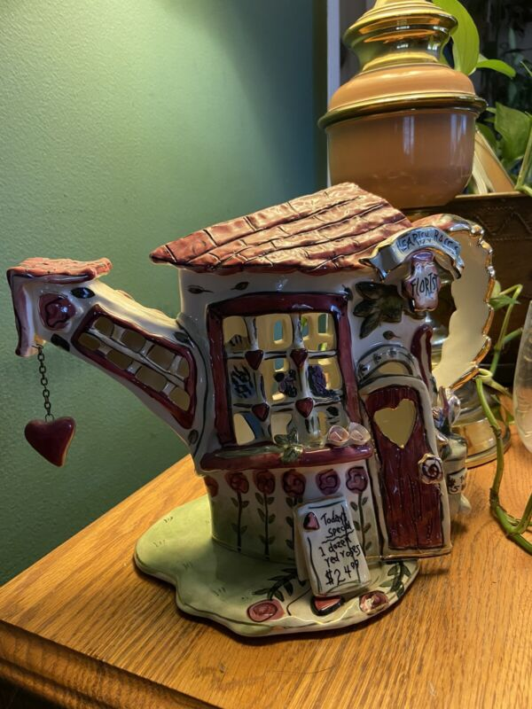 blue sky clayworks heather goldminc HEARTS AND ROSES TEALIGHT HOLDER COMPLETE