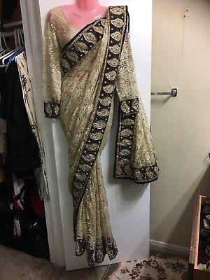 Bollywood Style Designer Embroidered Beige Sari Georgette Net Party Wear Saree