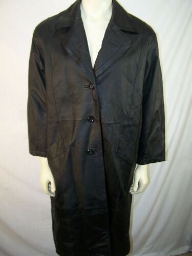 giii leather Jacket Mens Over Coat Trench Style long black lined size 2X