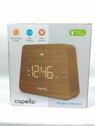 Capello Modern Mantle Clock Dual Alarm Woodgrain Finish LED Display