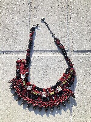 NWD ZARA Red Black Fabric Spikes Distressed Rustic Chunky Stones necklace J51