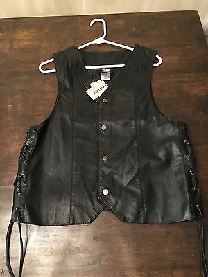The Walking Dead AMC Vest Black PU Leather Daryl Nixon Angel Wings Mens Small