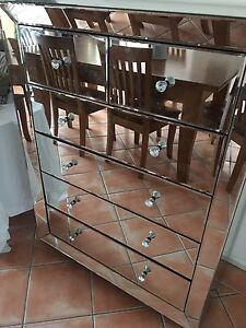 Mirrored 6 drawer chest and side cabinet Oxenford Gold Coast North Preview