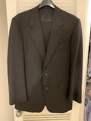 Hickey Freeman Men's Wool Suit Dark Gray 42R With Flat Front Pants 34x30 EUC