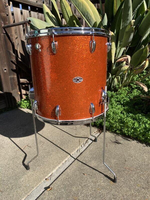 """VINTAGE SLINGERLAND Orange Sparkling Pearl Finish Offer 69-75 16""""x16"""" FLOOR TOM"""