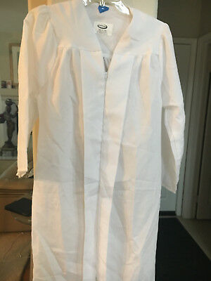 WHITE MATTE  GRADUATION GOWN  ROBE ,COSTUME CHOIR, JOSTENS AND OAKHALL BRAND (Graduation Robes)