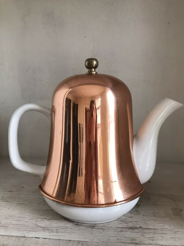 "White Ceramic Coffee / Tea Pot w/ Copper Insulation Cover Cozy 6.5"" Tall"