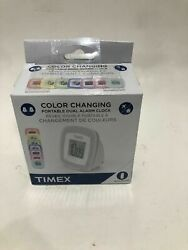 Timex T104W Dual Alarm Color Changing Portable Alarm Clock