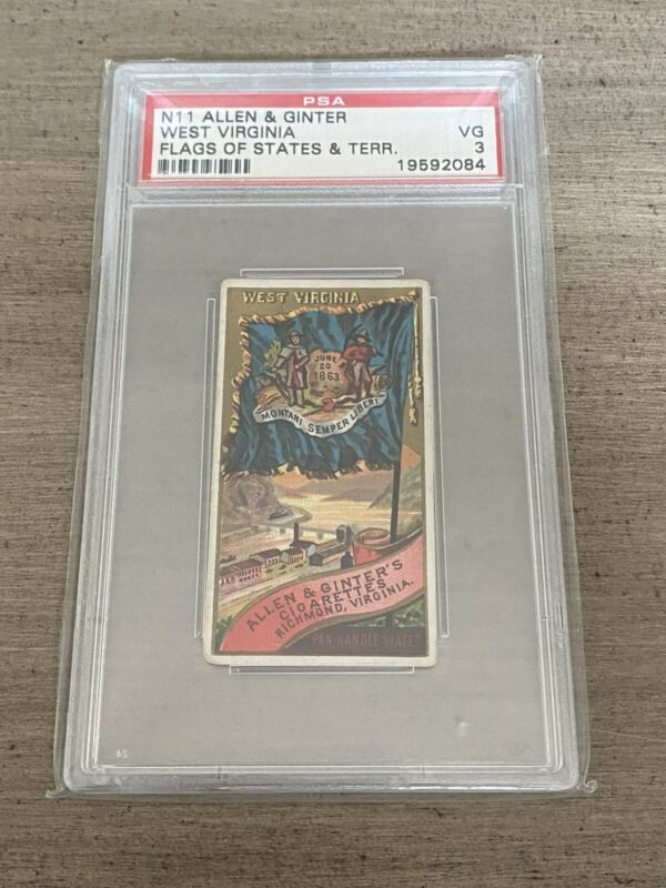 1888 N11 Allen & Ginter Flags of The States and Territories West Virginia PSA 3