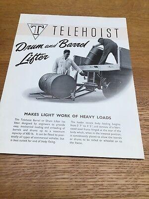 Telehoist Drum & Barrel Lifter Original 1950's Sales Brochure - Very Rare Item.
