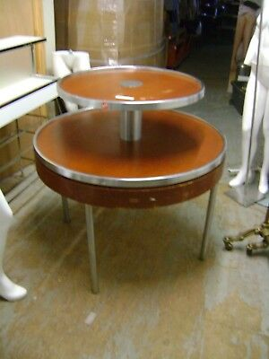 Retail Round Two Tier Table Brown Display Merchansier Table