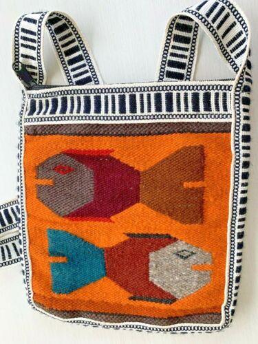 Vintage Hand Woven Wool Stylized Fish Ecuador Purse Shoulder Bag Hippie Boho