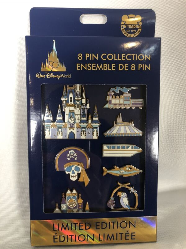 Walt Disney World 50th Anniversary 8 Pin Collection Set LE Limited Edition 1500