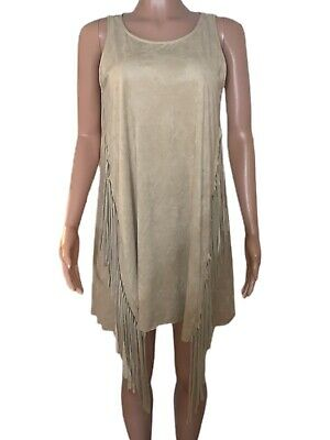 Sexy Tan Fringe sides Western Suede Style A-line Mini Dress Casual M Boho Hippie