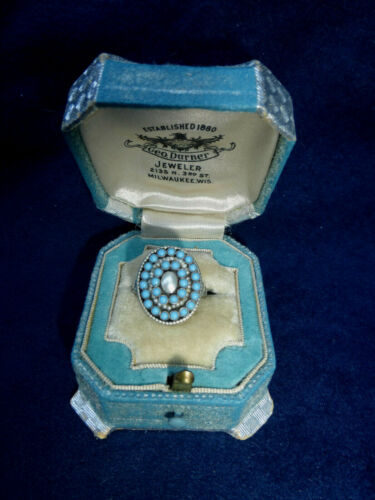 Antique Georgian Turquoise pearl Sterling Silver Ring Sz 8.5