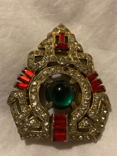 Exquisite Vintage Signed R DeROSA  Rhinestone Art Deco Dress Fur Clip