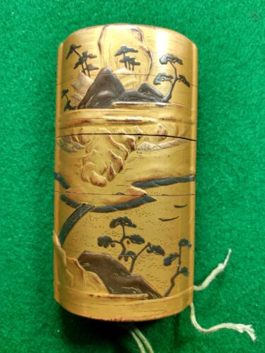 Antique Japanese Maki Inro with Mountain Motif and Signature