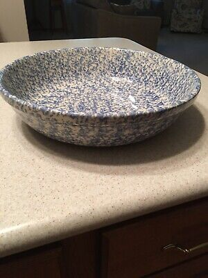 The Workshops of Gerald Henn Large Blue Spongeware Serving Bowl Dish Pottery 13""