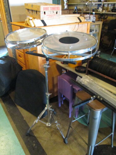 """Remo Rototom rare 16 & 18"""" 2pc Set vinage tom drums tunable percussion w/stand"""