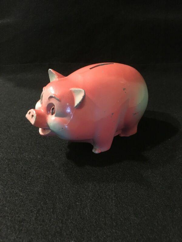 Vintage Cast Metal Piggy Bank - Pink and Blue Pig
