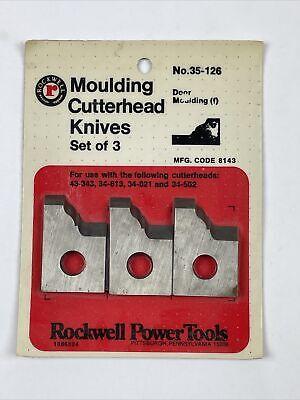 Rockwell Moulding Cutterhead Knives Set Of 3 No. 35-126 Door Mouldingf