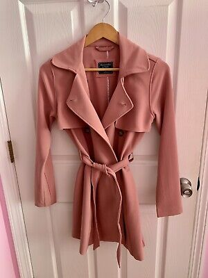 Abercrombie & Fitch Drapey Trench Coat Dusty Rose Pink Size XS
