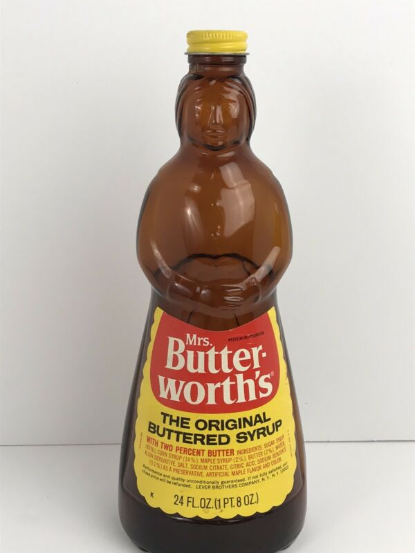 RARE VINTAGE Mrs Butterworth's Glass Syrup Bottle With Metal Lid