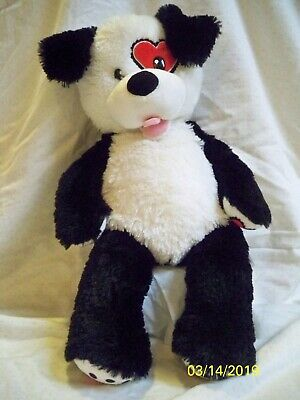 Build-A-Bear BAB Workshop Plush Black and White Dog with Red Heart Around Eye](Red Heart With Eyes)