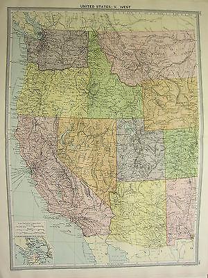 1920 LARGE MAP ~ UNITED STATES EAST ~ CALIFORNIA UTAH OREGON ARIZONA WASHINGTON