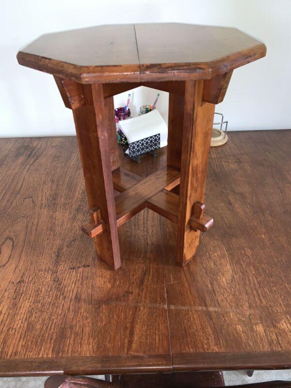 "Vintage Wooden Stool/Stand/Table/18""Hx15""D-Gorgeous-Mortise & Tenon!"